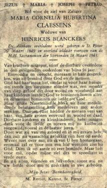 Bidprentje Maria Cornelia Hubertina Claessens (2).