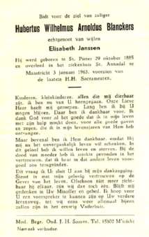 Bidprentje Hubertus Blanckers.