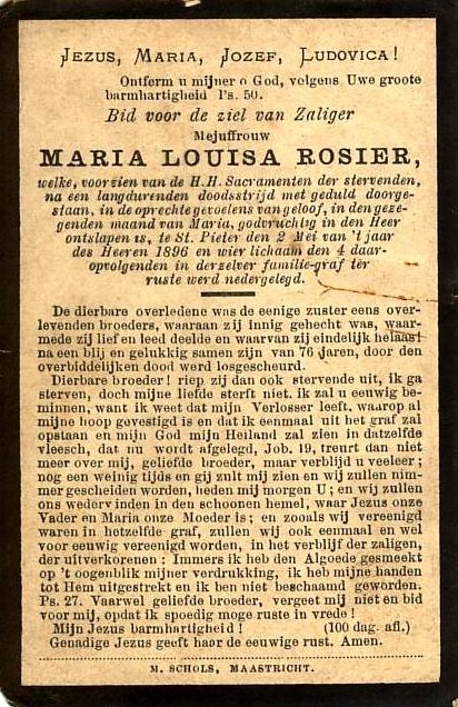 Bidprentje Maria Louisa Rosier.