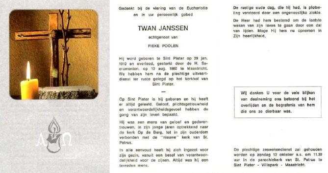 Bidprentje Twan Janssen.
